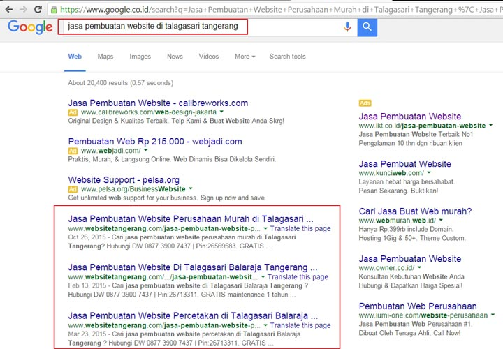 نمونهای از تبلیغات کلیکی گوگل در تبلیغات اینترنتی