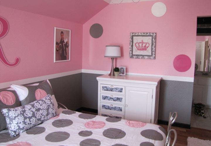 دکوراسیون اتاق خواب دخترانه با استفاده از نقطه ها