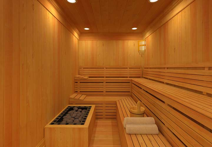 فواید سونا - سوناها اتاق های رنگ نشده ساده هستند که دیوارها و صندلی های چوبی در آن قرار دارد.