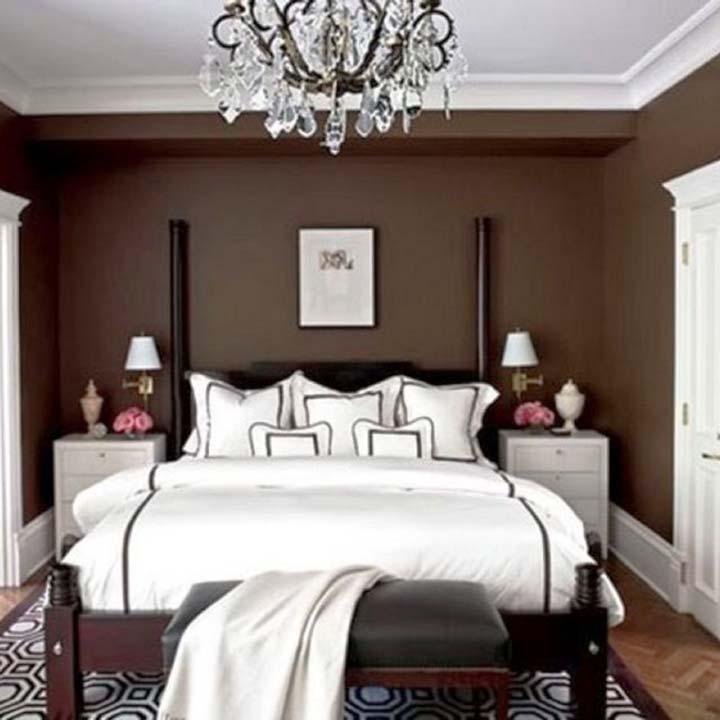 دکوراسیون اتاق خواب کوچک - سفید و قهوهای