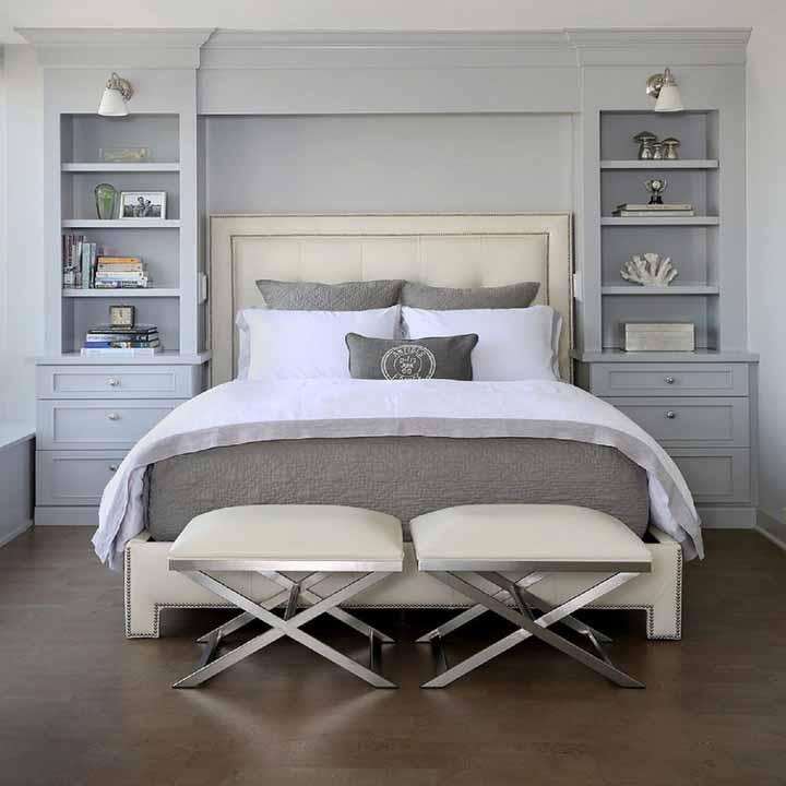 دکوراسیون اتاق خواب کوچک - کمدها و قفسههای توکار