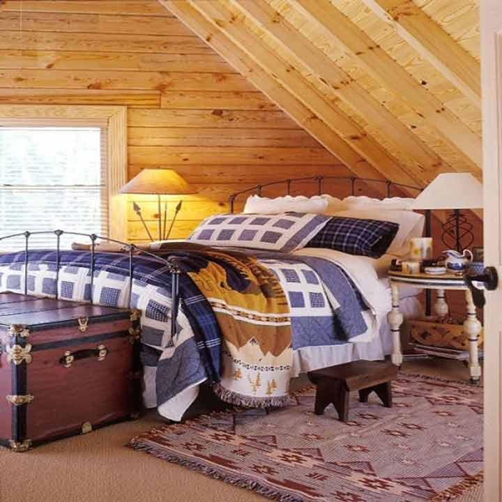 دکوراسیون اتاق خواب کوچک - سقف شیبدار