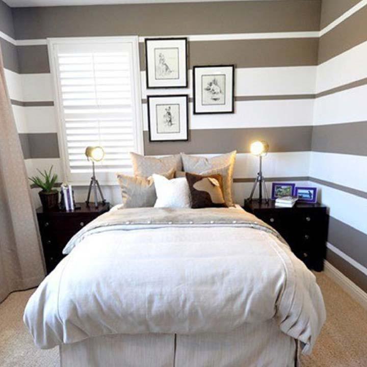 دکوراسیون اتاق خواب کوچک - طرحهای راهراه