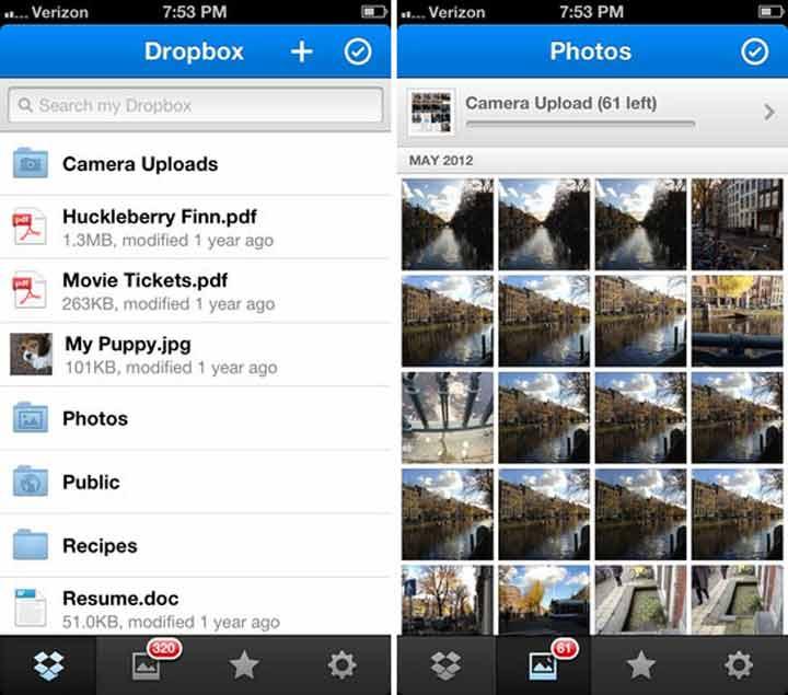 Dropbox - بهترین برنامه های آیفون