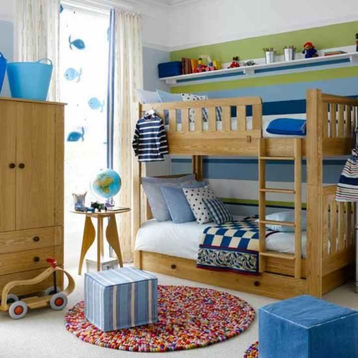 دکوراسیون اتاق خواب پسرانه - اتاق خواب رنگارنگ با تخت دوطبقه