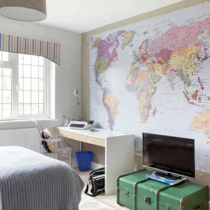 دکوراسیون اتاق خواب پسرانه - تزیین با نقشه