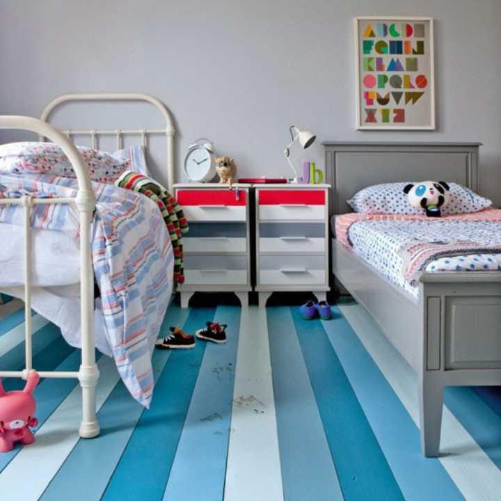 دکوراسیون اتاق خواب پسرانه - کفپوش راهراه