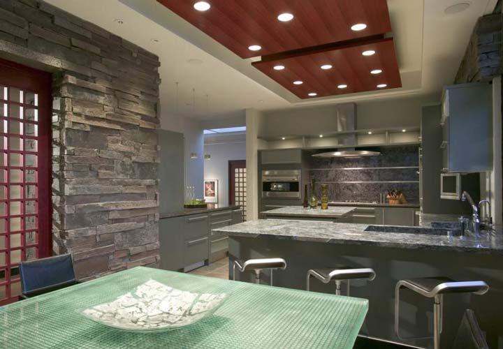 دکوراسیون آشپزخانه مدرن - آشپزخانهای با تنوع بافتی بینظیر