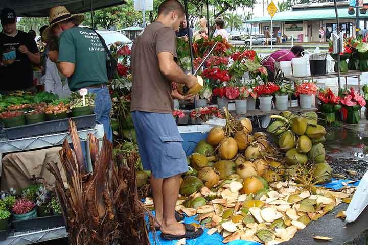 بازار کشاورزان هیلو در جزایر هاوایی