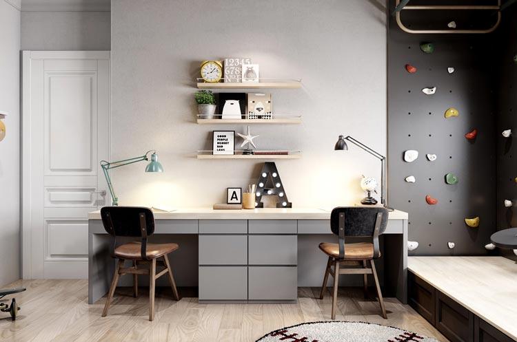 قفسه های کم عرض- دکوراسیون اتاق کار