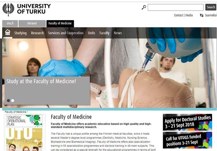 سایت دانشکده پزشکی تورکو - تحصیل پزشکی در فنلاند