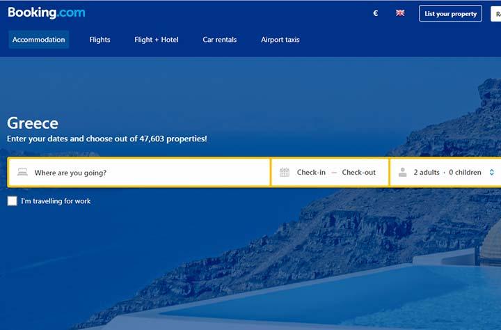 رزرو اقامتگان در سایت booking.com - ویزای یونان