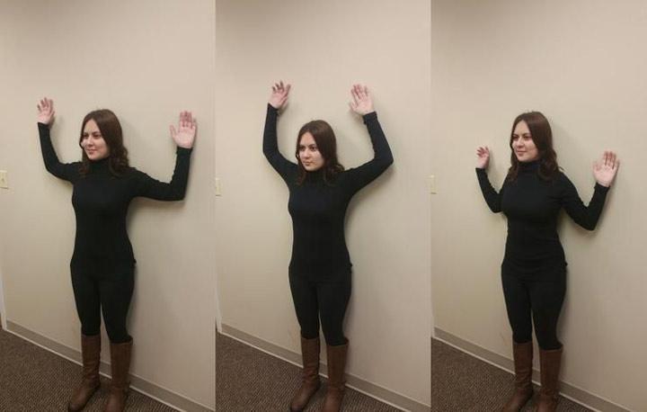 افتادگی شانه و حرکت تقویتی با دیوار
