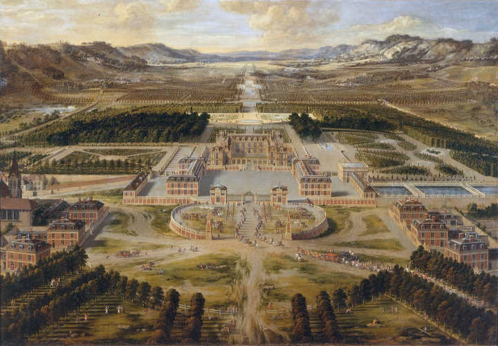 Old painting of the Palace of Versailles