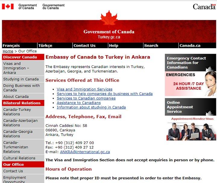 صفحه رسمی سفارت کانادا در آنکارا - تمکن مالی کانادا