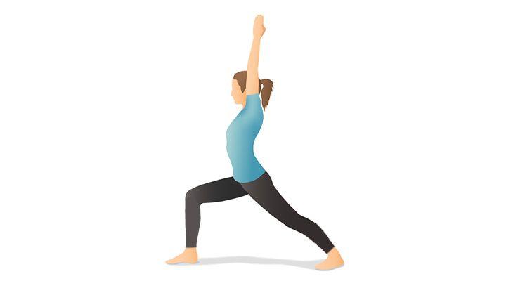 ۱۲ تمرین یوگا برای افراد مبتدی - حرکت جنگجو یا Warrior Pose