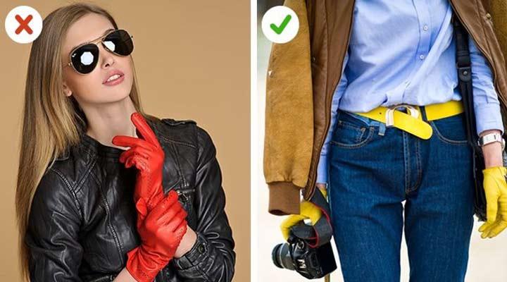 انتخاب اکسسوری - ترکیب رنگ دستکش با اجزای لباس