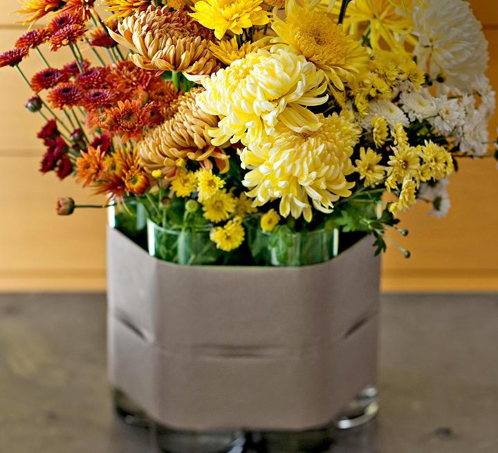 دکوراسیون پاییزی با گلدانهای گل