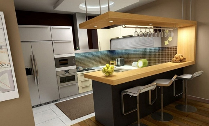 برای بزرگ نشان دادن آشپزخانه از صندلی های بدون پشتی استفاده کنید