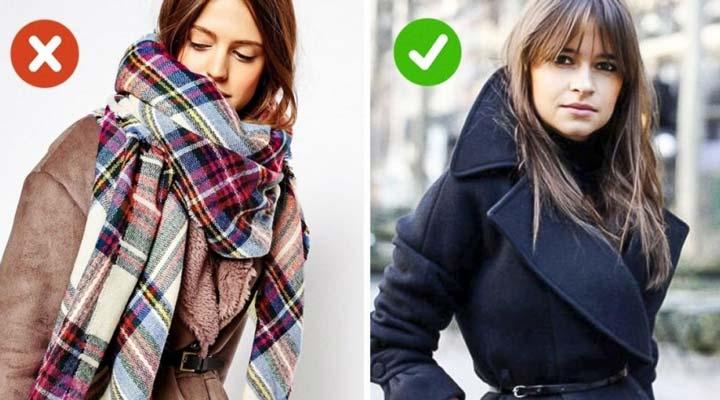 انتخاب اکسسوری - یقه بزرگ لباس را با شال بزرگ نپوشانید