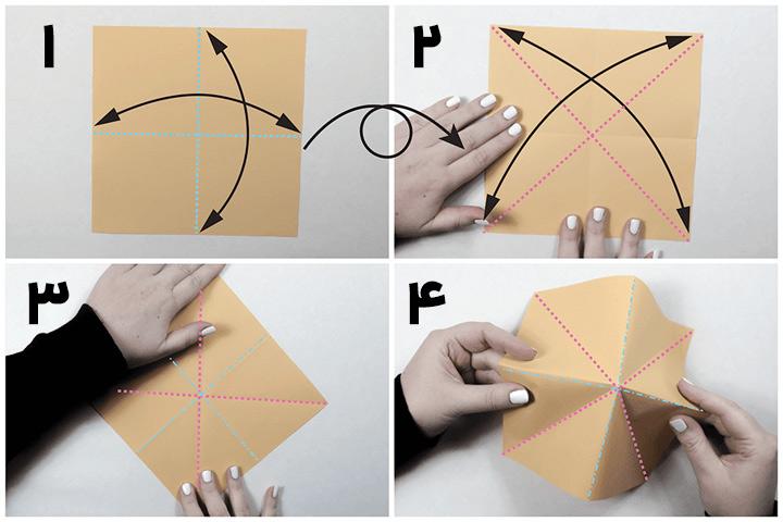 اوریگامی جعبه مرحله ۱