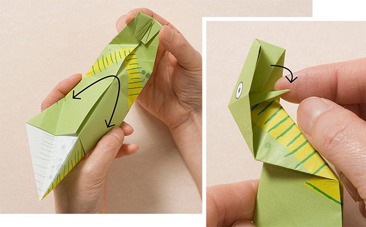 اوریگامی دایناسور مرحله ۹