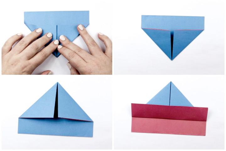 اوریگامی قایق مرحله ۱