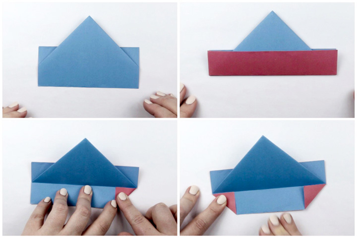 اوریگامی قایق مرحله ۲