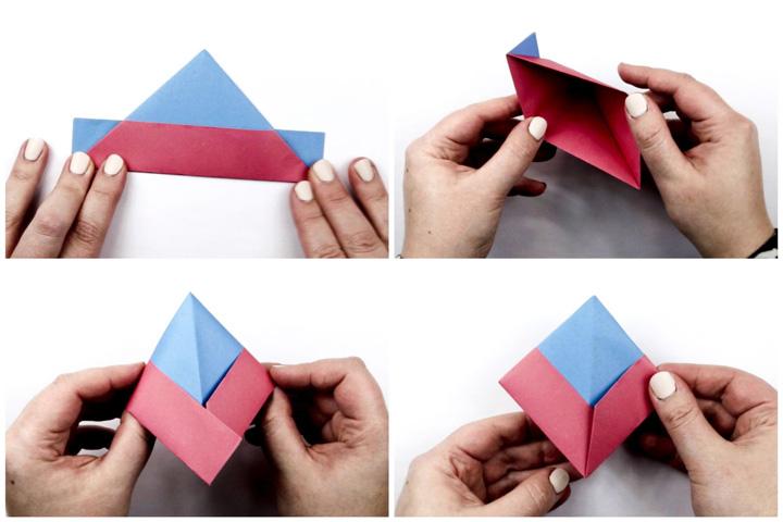 اوریگامی قایق مرحله ۳