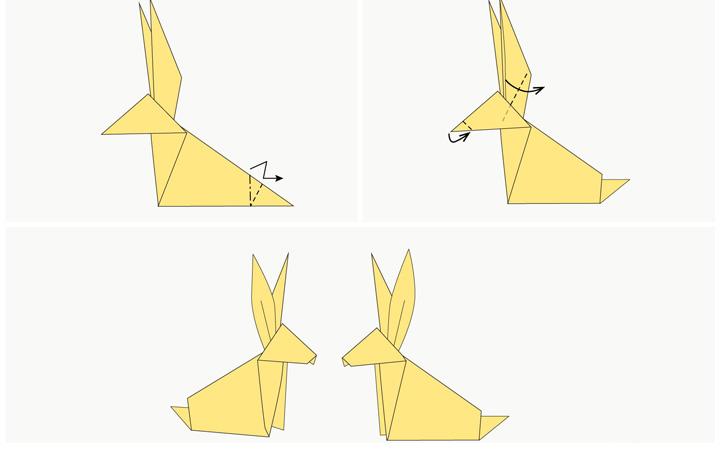 اوریگامی خرگوش مرحله ۳