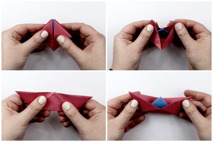 اوریگامی قایق مرحله ۵
