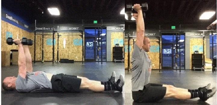 ورزش با دمبل - دراز نشست با وزنه