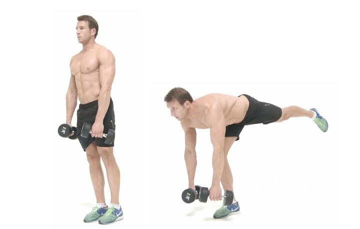 ورزش با دمبل - ددلیفت دمبل تک پا