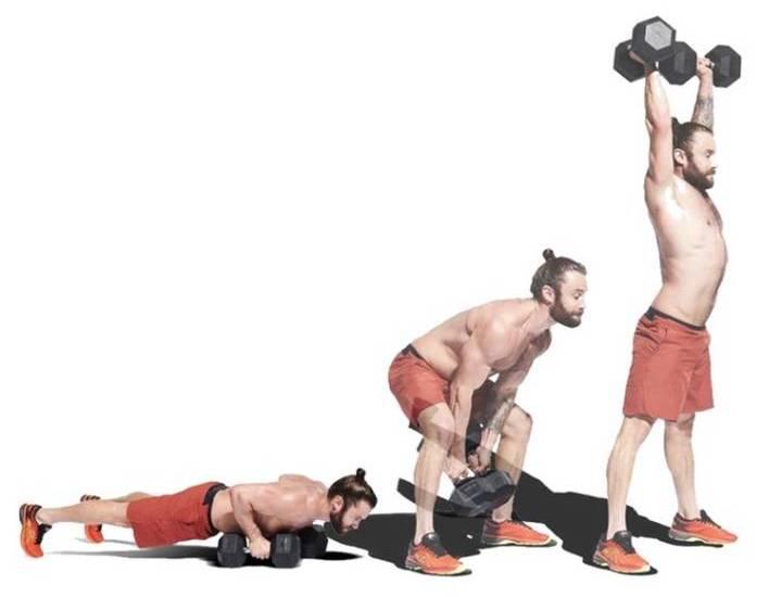 حرکت Devil press، ورزش با دمبل