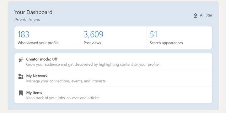 بخش داشبورد صفحه کاربری در لینکدین